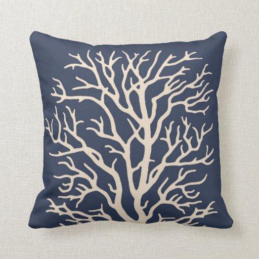 Coral Tree in Cream on Dark Navy Blue Throw Pillows Zazzle