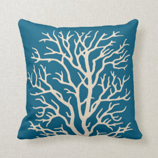 Coral Tree in Cream on Jeweled Teal Blue Throw Pillow