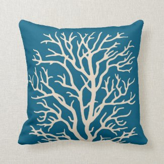 Coral Tree in Cream on Jeweled Teal Blue Throw Pillows