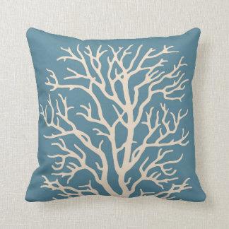 Coral Tree in Cream on Medium Sea Blue Throw Pillow