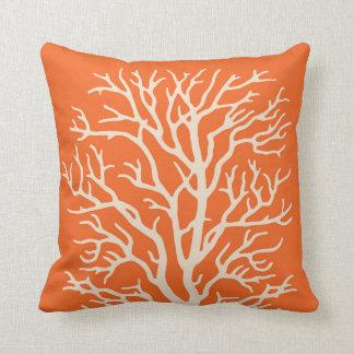 Coral Tree in Cream on Pumpkin Orange Pillow