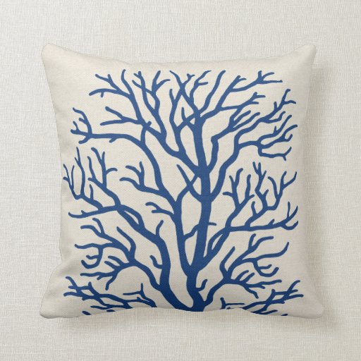 Coral tree in royal blue throw pillow zazzle for Royal blue couch pillows