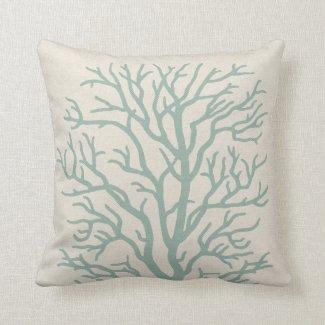 Coral Tree in Seafoam Green Pillow