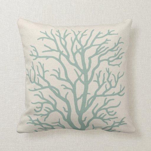 Coral Tree in Seafoam Green Pillows Zazzle