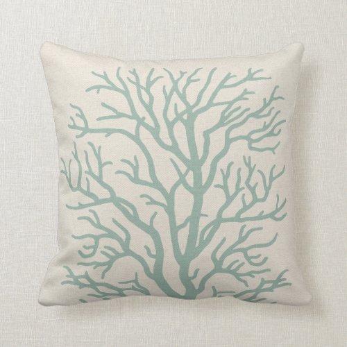 Coral Tree in Seafoam Green Throw Pillow