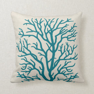 Coral Tree in Teal Blue Throw Pillow