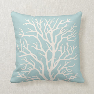 Coral Tree in White on Sea Glass Blue Throw Pillow