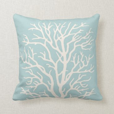 AnyTownArt Coral Tree in White on Sea Glass Blue Throw Pillow