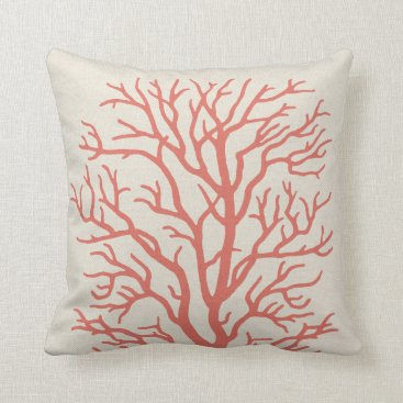 Beach Themed Coral Tree Nautical in Coral Pink Throw Pillow