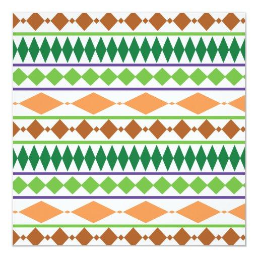 """Coral tribal geométrico del moho del verde del invitación 5.25"""" x 5.25"""""""