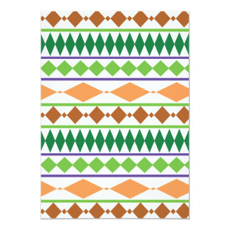 """Coral tribal geométrico del moho del verde del invitación 5"""" x 7"""""""
