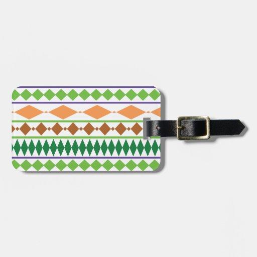 Coral tribal geométrico del moho del verde del mod etiqueta para maleta