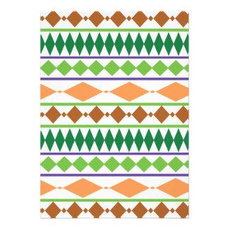Coral tribal geométrico del moho del verde del mod invitaciones personalizada