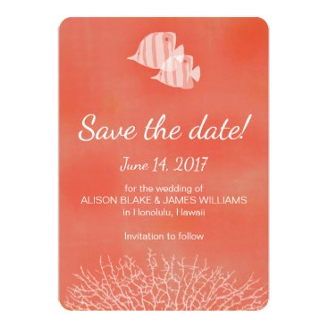 Beach Themed Coral tropical fish save the date card