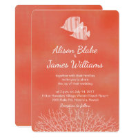 Coral tropical fish wedding invitation card