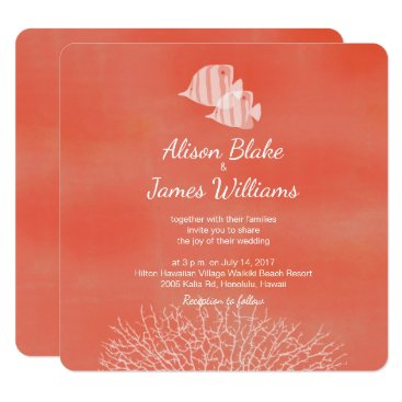 Beach Themed Coral tropical fish wedding invitation card