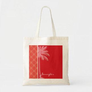 Coral tropical y remolino rojo bolsa tela barata