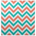 Coral, trullo, modelo de zigzag grande blanco de servilleta imprimida