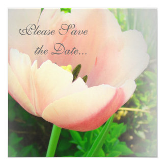 Coral Tulip Save The Date Card