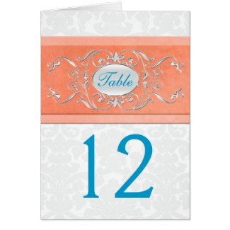 Coral, Turquoise, and Gray Damask Table Number card