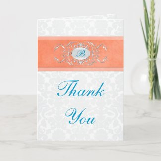 Coral, Turquoise, and Gray Damask Thank You Card card