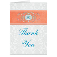 Coral, Turquoise, and Gray Damask Thank You Card