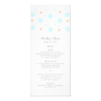 Coral Turquoise Confetti Wedding Menu Card