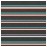 [ Thumbnail: Coral, Turquoise, Dark Red, Teal & Black Colored Fabric ]