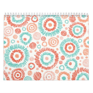 Coral & Turquoise Doodle ZigZag Circles Abstract Calendar