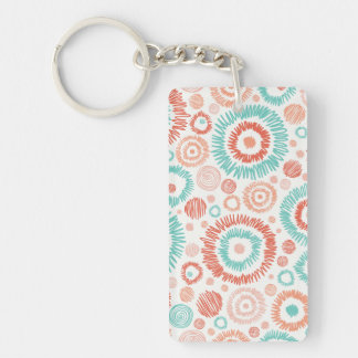 Coral & Turquoise Doodle ZigZag Circles Abstract Acrylic Keychains