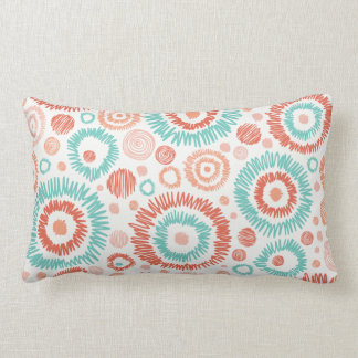 Coral & Turquoise Doodle ZigZag Circles Abstract Lumbar Pillow