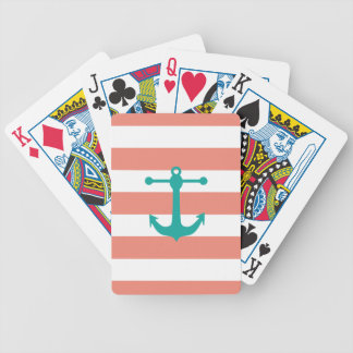 Coral Turquoise Nautical Pattern Bicycle Card Deck