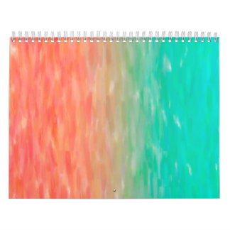 Coral & Turquoise Ombre Watercolor Teal Orange Calendar