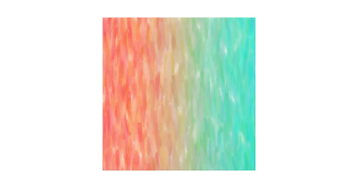 Coral Amp Turquoise Ombre Watercolor Teal Orange Canvas