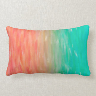 Coral & Turquoise Ombre Watercolor Teal Orange Lumbar Pillow