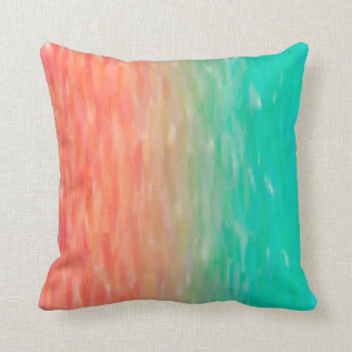 Coral & Turquoise Ombre Watercolor Teal Orange Throw Pillow