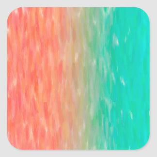 Coral & Turquoise Ombre Watercolor Teal Orange Square Sticker