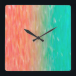 """Coral &amp; Turquoise Ombre Watercolor Teal Orange Square Wall Clock<br><div class=""""desc"""">Check out www.zazzle.com/Sweetbriar_Drive for so many other beautiful styles,  items &amp; colors! &#169; SweetbriarDrive 2014. Do not copy.</div>"""