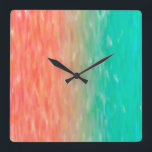 "Coral &amp; Turquoise Ombre Watercolor Teal Orange Square Wall Clock<br><div class=""desc"">Check out www.zazzle.com/Sweetbriar_Drive for so many other beautiful styles,  items &amp; colors! &#169; SweetbriarDrive 2014. Do not copy.</div>"