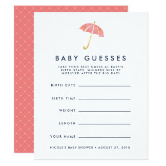Coral Umbrella Baby Shower Guessing Game Card