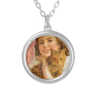 Coral Victorian Girl Cat Hug Love Round Pendant Necklace