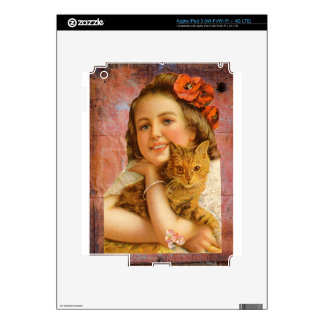 Coral Victorian Girl Cat Hug Love Decal For iPad 3