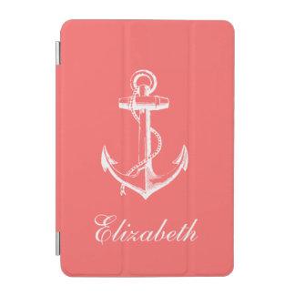 Coral Vintage Anchor Monogram iPad Mini Cover