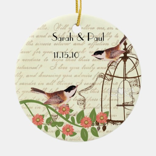 Coral Vintage Bird Save the Date  Bird Cage Christmas Ornament