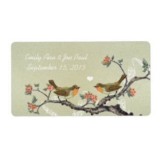 Coral Vintage Birds Wood Grain Rice Paper Personalized Shipping Labels