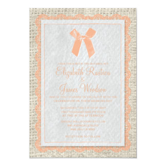 Coral Vintage Bow & Linen Wedding Invitations Personalized Announcements