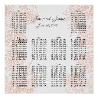 CORAL VINTAGE FLORAL WEDDING SEATING CHART