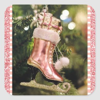 Coral Vintage Ice Skate Christmas Sticker