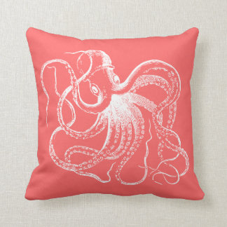 Coral Vintage Octopus and Nautical Stripes Pillow