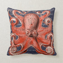 Coral Vintage Octopus Nautical Throw Pillow